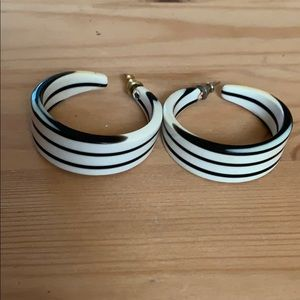 Vintage black and white hoop earrings